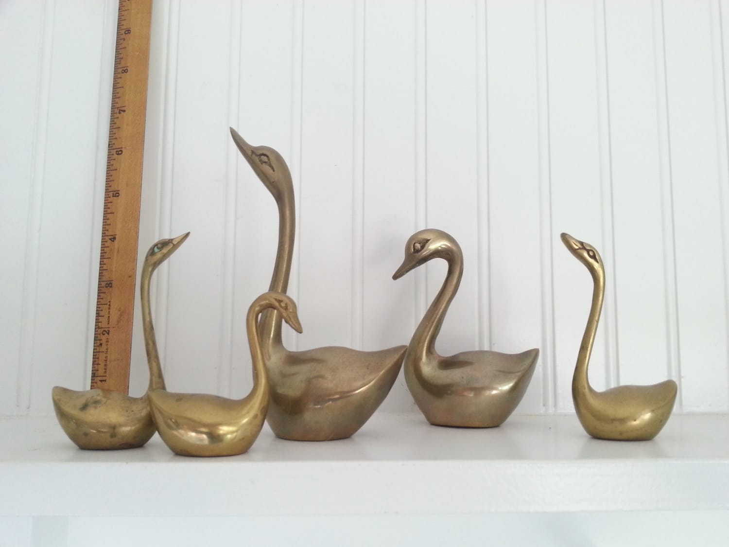 5 solid brass swans metal home decor traditional decorating Metal home decor