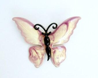 """Vintage Purple Black Beige Enamel Metal Butterfly Brooch 2.25"""" x 1 3/4"""""""