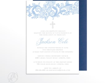 The Jackson Lace Baptism Invitation / Boy Christening Invitation / Boy Baptism Announcement / Elegant Blue Baptism Invitations / Lace Invite