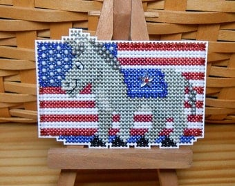 Patriotic Blue Beaded Cross Stitch Ornament, Pin, or Magnet - Free U.S. Shipping