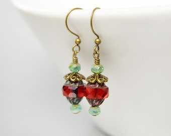 Red and Green Christmas Earrings Ruby Red Boho Jewelry Gypsy Style Green Patina Red Drop Earrings