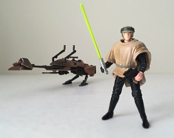 1995 Star Wars Luke Skywalker Endor Gear Action Figure with Speeder Bike - Complete with Original Box, Decals and Kenner Inserts