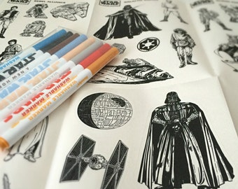 Vintage Star Wars Sticker & Marker Set with Original Box - Han Solo, Darth Vader, R2-D2, C-3PO, Princess Leia, More - Kids Art Set