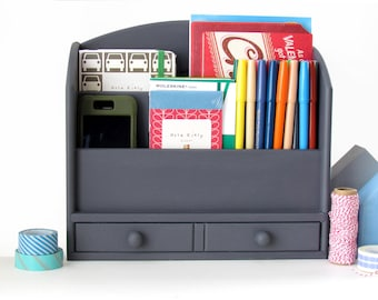 Slate Chalk Painted Letter Sorter with Bottom Drawer - Home Office Organizer - Rustic Desk Storage