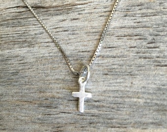 """Dainty cross necklace, small cross necklace, sterling silver cross necklace, small cross charm, choice of 16"""" or 18"""" box chain, charm"""