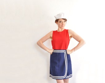 mod navy blue sailor skirt . nautical white stripes . mini scooter skirt .small .sale s a l e