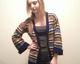 70s Cardigan Bell Sleeves Wrap Sweater Space Dye Hippie Sweater BOHO  Hippie gypsy Blue Striped Cardigan Size Medium M Large L Boho