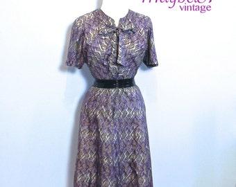 Vintage 50s Plus Dress , Rockabilly 1950s Dress , Purple Diamonds , XXL 50s Dress - on sale