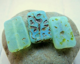 SEA GLASS REX . New Czech Picasso Glass Beads (4 beads) 12 by 18 by 4 mm