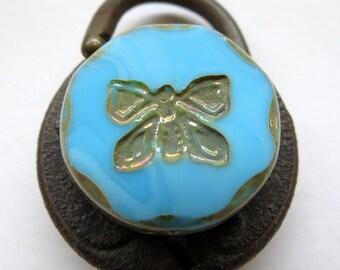 NEW BLUE BUTTERFLIES . Czech Picasso Glass Beads . 26 mm (1 bead)