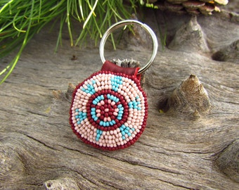 Turtle Beaded Key Chain, Rosette, deerskin Leather, Key Ring, Purse Charm, Bag Fob, Housewarming gift, New Car gift, Man, Women, Unisex,
