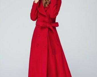 long coat, trench coat, maxi coat, red coat, wool coat, hooded coat, double breasted coat, custom made coat, Maxi coat, red wool coat, 1602