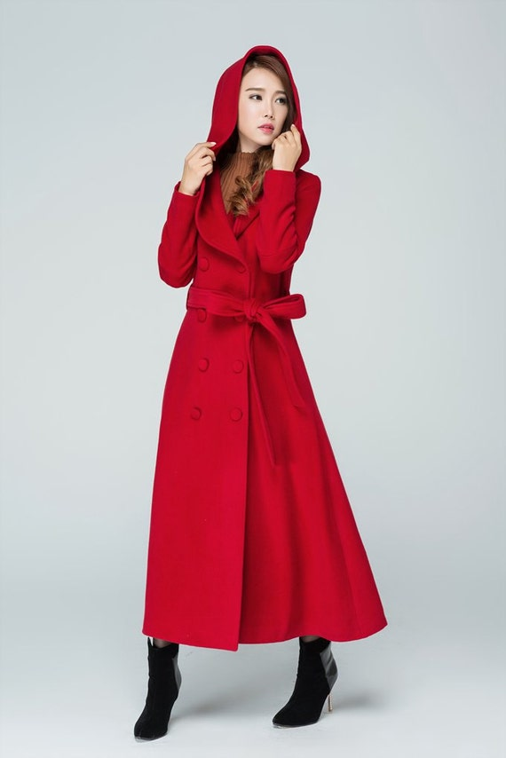 long coat trench coat maxi coat red coat wool coat hooded