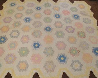 "Vintage Quilt Grandmother's Flower Garden Double 74"" X 80"""