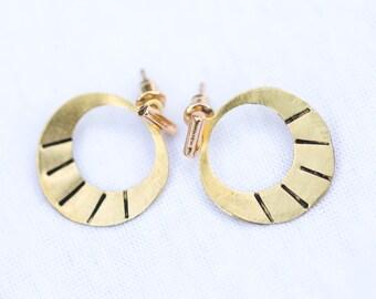 Gold Bar Earrings with Open Circle Ear Jackets | E21608