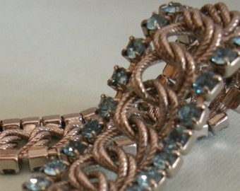 Rhinestone Bracelet Blue Silver