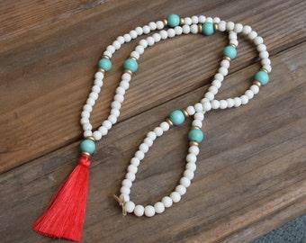 Coral and Aqua Tassel Necklace
