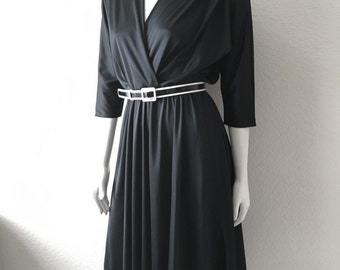 Vintage Women's 80's Black Dress, Polyester, Knee Length (M)