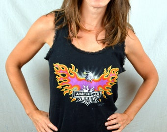 Vintage 1992 90s American Biker Flame Eagle Motorcycle Tank Top Shirt