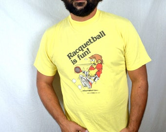 Vintage 1980 Crazy Shirts Funny Racquetball Cartoon Tshirt Tee Shirt