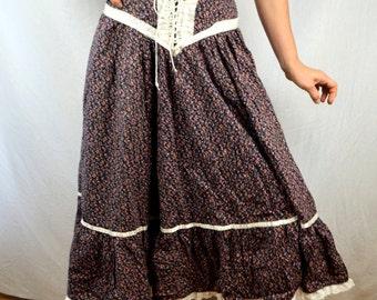 Sweet Gunne Sax Style Calico Boho Prairie Skirt