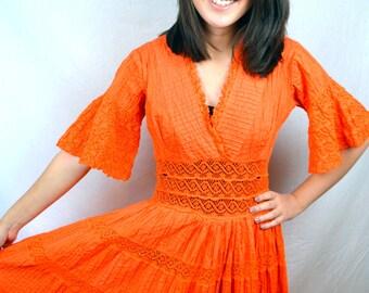 Vintage Bohemian 60s Orange Crocheted Maxi Dress
