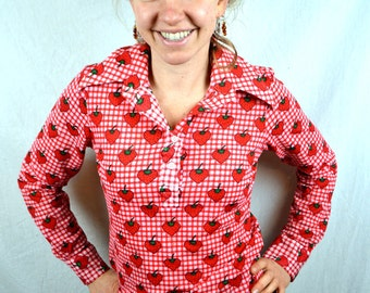 Vintage 70s 80s Strawberry Button Up Shirt