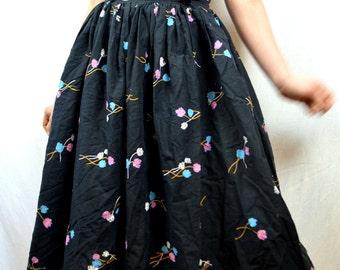 Vintage Floral Cotton 1950s 50s Skirt