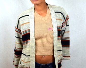Vintage Belled Sleeve Acrylic 70s 1970s Kimlon Hippie Belted Sweater