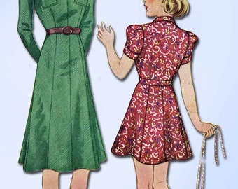1930s Vintage McCall Sewing Pattern 9455 Stylish Junior Girls Dress Size 12