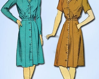 1940s Vintage Du Barry Sewing Pattern 5712 Misses WWII Shirtwaist Dress Size 12