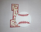 Free Shipping Ready to Ship Number 1 Baseball  Machine Embroidery   iron on applique