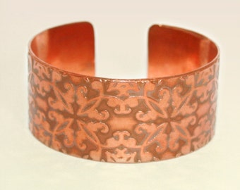 Etched Pattern Copper Cuff - Etched Solid 18 gauge Copper - Handmade