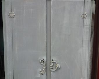 Farmhouse Cupboard Vintage Cabinet Poppy Cottage Painted Furniture Primitive Cottage Distressed Grey Finish