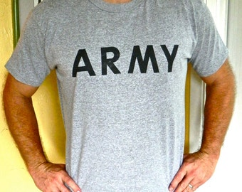 US Army 1980s vintage tee - gray soft and thin shirt size extra large
