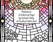 Adult Coloring Page - Radiance Stained Glass Window PDF Printable