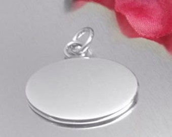 Sterling Silver Engravable Oval Charm or Pendant - Horizontal - 1 inch