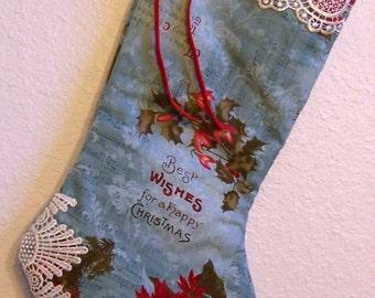Vintage Shabby Chic Christmas stocking