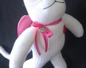 ANGEL Sock Kitty Cat with Pink Satin Wings