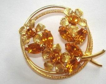 Topaz Rhinestone  Flower Brooch Gold Tone