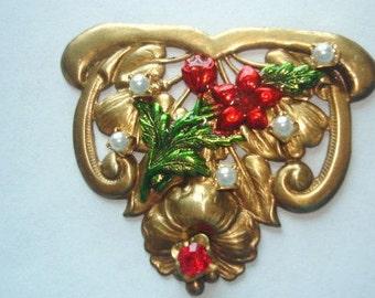 Flower Vintage Jewelry Brooch Pearl Rhinestone