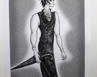 "Goth Swag Gentleman 8x10"" Art Print"
