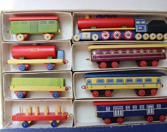 Toia Wooden Train Set made in Czechoslovakia Toy Miniature in Box VINTAGE by Plantdreaming