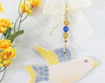 Spring Bird Ornament, Ceramic Bird Decoration, Pastel Pottery Bird, Easter Hostess Gift, Easter Gift