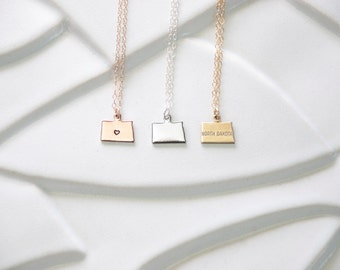 Rose Gold North Dakota State Bracelet Or Necklace, Charm North Dakota Bracelet, Small North Dakota Necklace, Gold or Silver