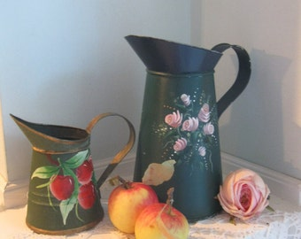 Decorative Painted Tins, Two Pitchers, Cherries, Roses, Folk Art, Metal, Chippy, Shabby French, Cottage Charm, by mailordervintage on etsy