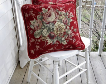 Decorative Pillow Cases, Roses, Pillowcases, French Country, Shabby Cottage, English Cottage, Velvet, Burgundy, by mailordervintage on etsy