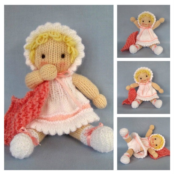 Little Daisy doll knitting pattern - INSTANT DOWNLOAD
