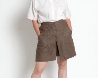 Vintage 90s Ash Brown Bloomingdales Linen Skort with Pockets | L