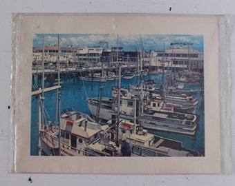 SAN FRANCISCO  photographic print  mid century 50s 60s  harbor boats  urban chic decor apartment therapy